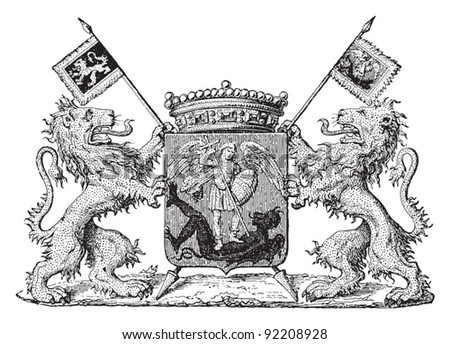 Brussels coat of arms / vintage illustration from Meyers Konversations-Lexikon 1897 - stock vector