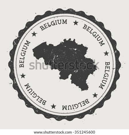Brussels Hoofdstedelijk Gewest. Hipster round rubber stamp with Belgium map. Vintage passport stamp with circular text and stars, vector illustration - stock vector