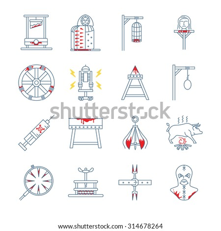 Brutal torture device icons - stock vector