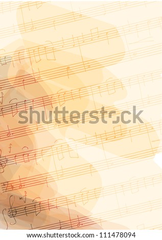 Bsckground with handmade musical notes. Vector illustration. - stock vector