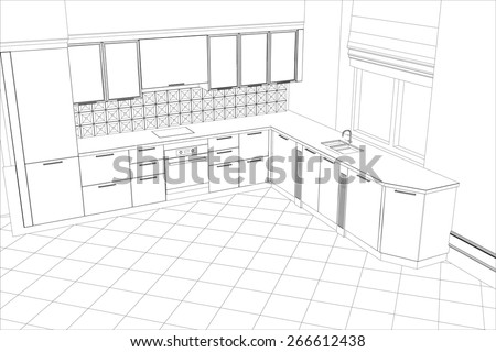 Kitchen drawing stock images royalty free images for 3d drawing kitchen
