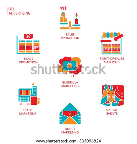BTL communications symbols collection to present advertising services of media studios. Trendy orange, red and blue color icons presented on white background. - stock vector