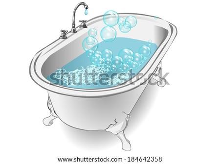 bubble bath - stock vector