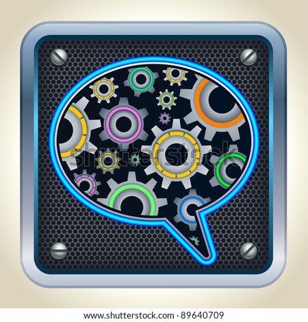 bubble chat icon with gears inside - stock vector