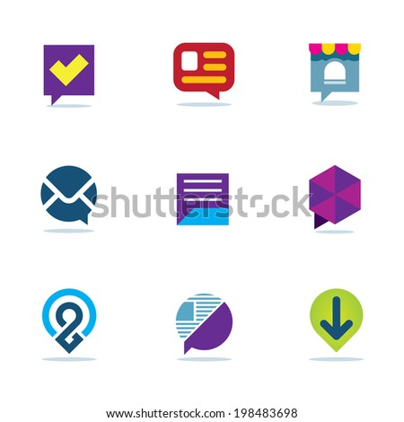 Bubble chat talk dialogue social network community logo icon set - stock vector