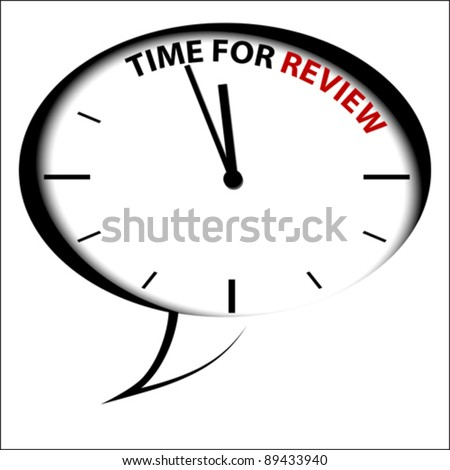 """Bubble Clock """"Time for review"""" - stock vector"""