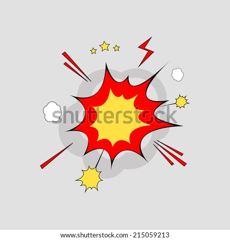 Bubble comic in explosion over gray background. Vector illustration, eps 8.