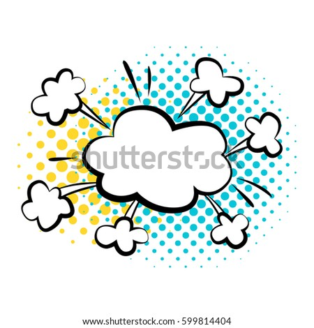 Bubble comic style vector duddle illustration. Crash effect, bomb bubble. Comic style with dot. Explosion bubbles isolated on white background