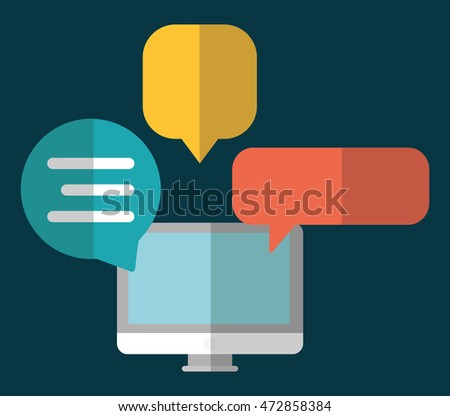 bubble computer social network communication media con. Colorful and flat design. Vector illustration