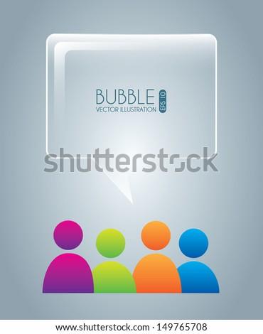 bubble design  over blue background vector illustration  - stock vector