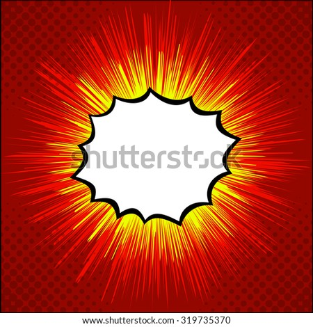 Bubble speech. Cartoon banner web. Pop art cartoon style vector. Empty speech bubble banner. Comics style promotional web graphic. Blank comics bubble with explosion. Cartoon promo with space for text - stock vector