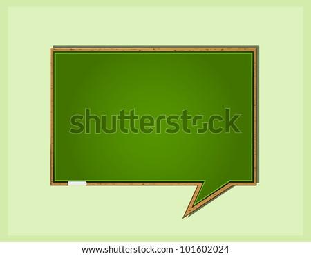 Bubble Speech in Form of Green Wooden School Blackboard. Vector Icon ...
