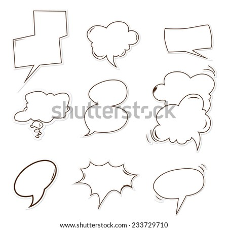 bubble speech Object Hand Drawn Sketch Doodle - stock vector