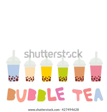 Bubble Tea with different fruits and berries. Milk Cocktails in plastic cup, tubule. Different sorts of Bubble Tea Cocktails. pastel colors isolated on white background. Vector - stock vector