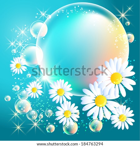 Bubbles and daisy on blue glowing background - stock vector