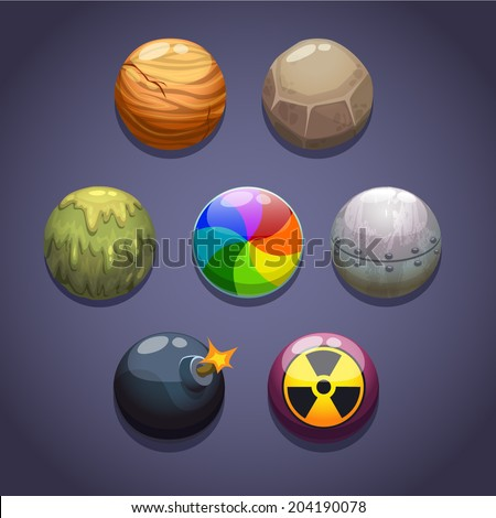 Bubbles\balls set with different properties on the dark background, isolated vector - stock vector