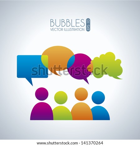 bubbles communication icons over gray background vector illustration