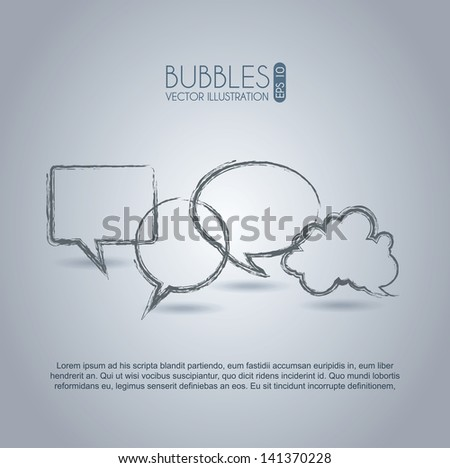 bubbles expression icons over gray background vector illustration - stock vector