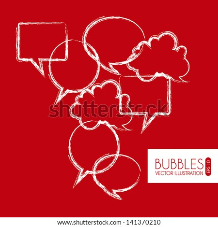 bubbles expression over red background vector illustration - stock vector