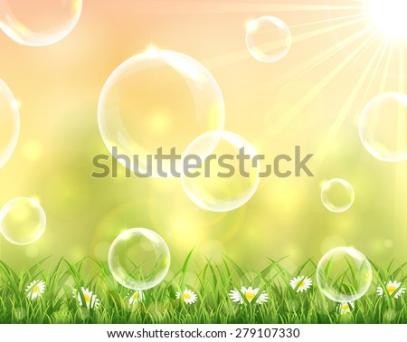 Bubbles flying over the grass on sunny background, illustration. - stock vector