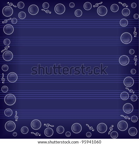 Bubbles. Transparent bubbles flying on a blue background. Music and the treble clef for your design. - stock vector
