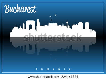 Bucharest, Romania, skyline silhouette vector design on parliament blue and black background. - stock vector