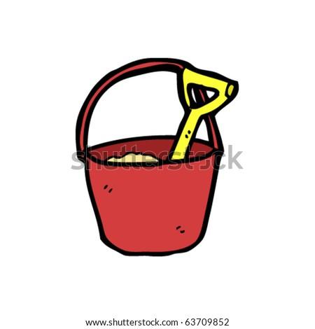 bucket and spade cartoon - stock vector