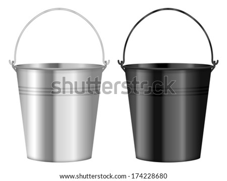 Bucket set on a white background. Vector illustration. - stock vector