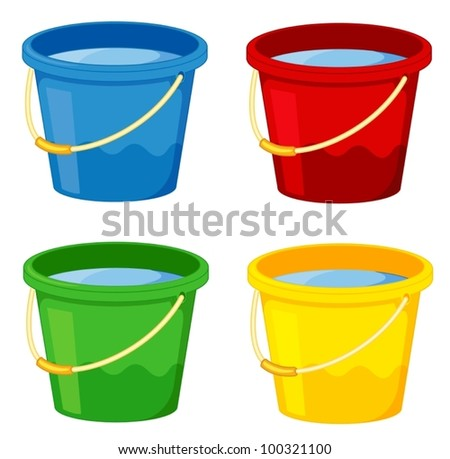 Buckets in four colours on white