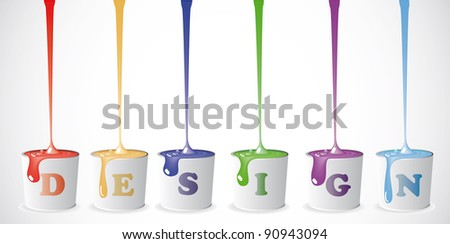 Buckets with a paint. Background - stock vector