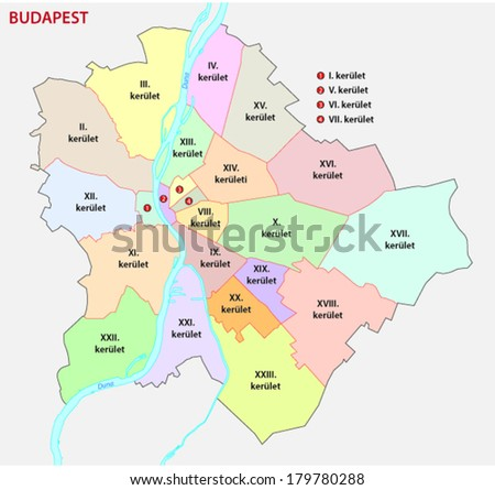 budapest administrative map - stock vector