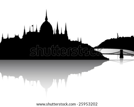 Budapest city view with reflection - stock vector