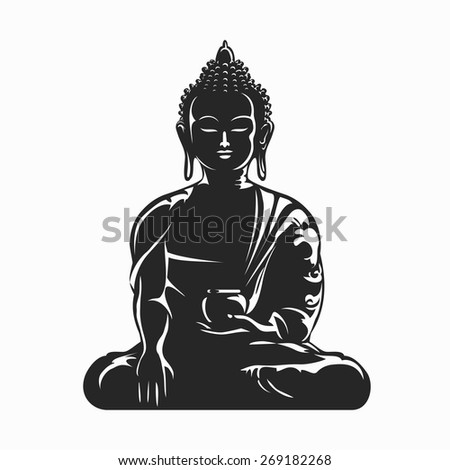 Buddha black silhouette. Meditation and Buddhism, yoga symbol, vector illustration - stock vector