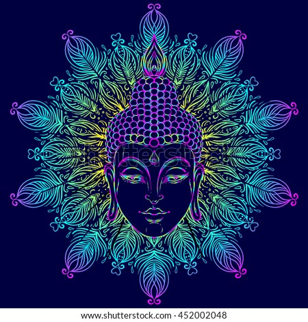 Buddha face over ornate mandala round pattern. Esoteric vintage vector illustration. Indian, Buddhism, spiritual art. Hippie tattoo, spirituality, Thai god, yoga zen. Psychedelic hypnotic colors.