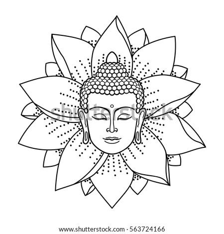 Volwassenen Kleurplaat Boeddha Buddha Head Lotus Isolated On White Stock Vector 563724166