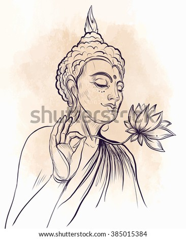 Buddha holding Lotus flower. Vector illustration over beige retro background. Sketchy style, hand drawn. Vintage drawing. Indian, Buddhism, Spiritual motifs. Tattoo, yoga, spirituality.