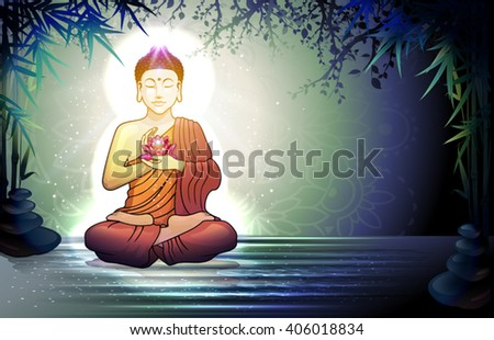 Buddha in Meditation With Lotus Flower in Tranquil Zen Garden-Transparency Blending Effects and Gradient Mesh-EPS 10. - stock vector
