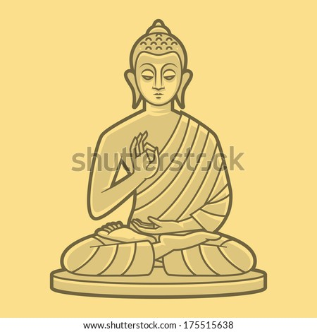 Buddha meditates - stock vector