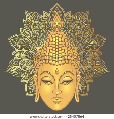 Buddha over ornate mandala round pattern. Vector illustration. Vintage decorative composition. Indian, Buddhism, Spiritual motifs. Tattoo, yoga, spirituality.  - stock vector