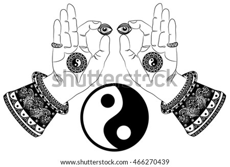 Buddhas Hands Third Eye Yin Yang Stock Vector 466270439 Shutterstock