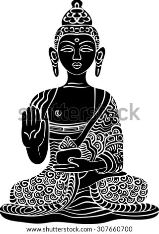 Buddha Gautama Vector Illustration Vintage Decorative
