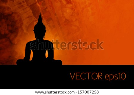 Buddha silhouette against red grunge background - stock vector