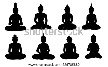 buddha silhouettes on the white background - stock vector