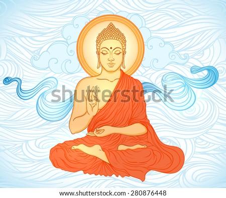 Buddha Sitting Buddha in the sky. Vector illustration.  - stock vector