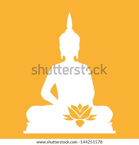Buddha with flower - stock vector