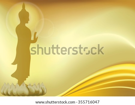 Buddha with lotus flower.Buddhism and yoga, health and symbol,vector illustration. gold background and lotus with wave