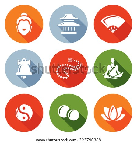 Buddhism icons set. Vector Illustration. - stock vector