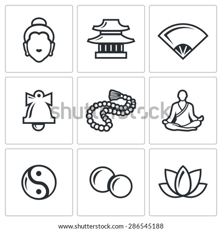 Buddhism icons set. Vector Illustration. Isolated Flat Icons collection on a white background for design. - stock vector