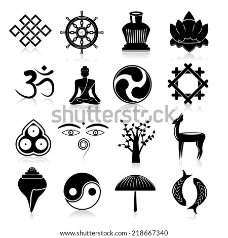 Buddhism yoga oriental traditional symbols icons black set isolated vector illustration - stock vector