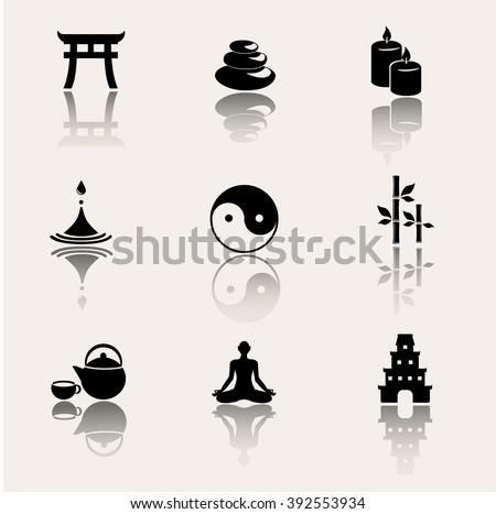 Buddhism, zen, meditation icon set. Vector illustration. - stock vector